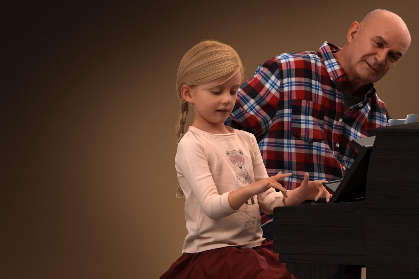 3D people. Little girl and grandfather behind the piano