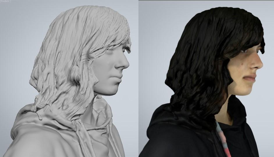 Digital hair on older 3D people models