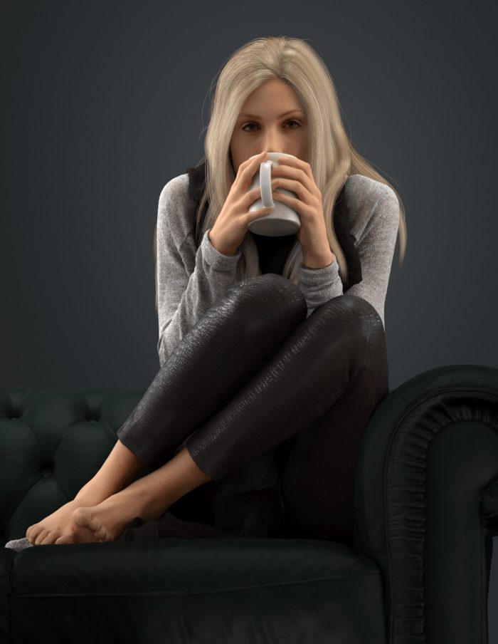 3D model Esmay sitting while drinking coffee