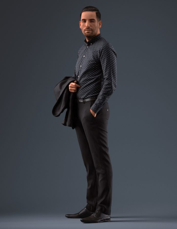 3D human standing wearing pants and a sweater, holding a jacket