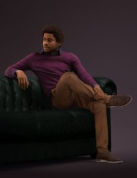 3D model male sitting on a couch in his casual attire