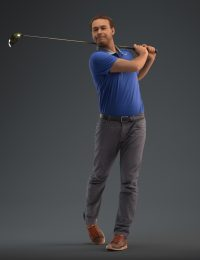 Premium 3D model Vincent wearing a casual outfit and playing golf