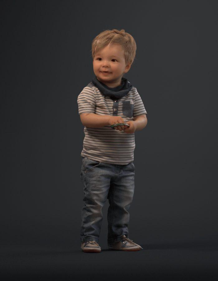 Kid 3D model standing wearing jeans
