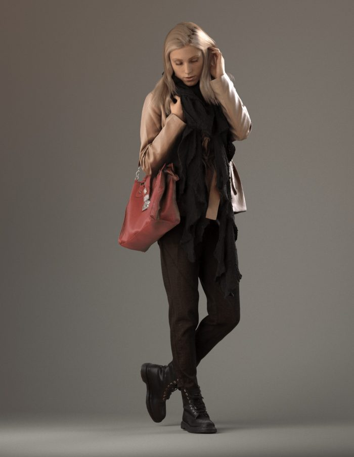 3D human Esmay standing holding her bag