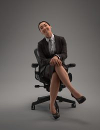 3D model Esmee wearing an office outfit, sitting on an office chair