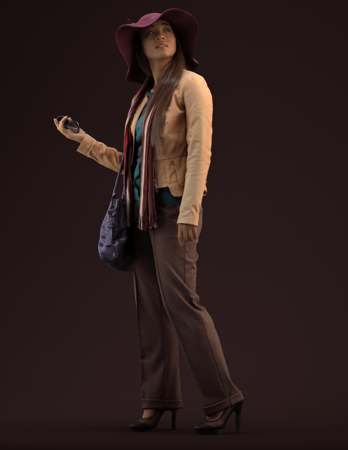 3D model Esmee standing wearing hat and jacket