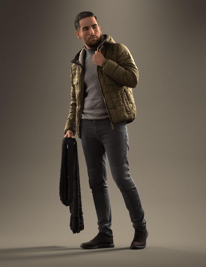 3D human Skander standing holding a jacket