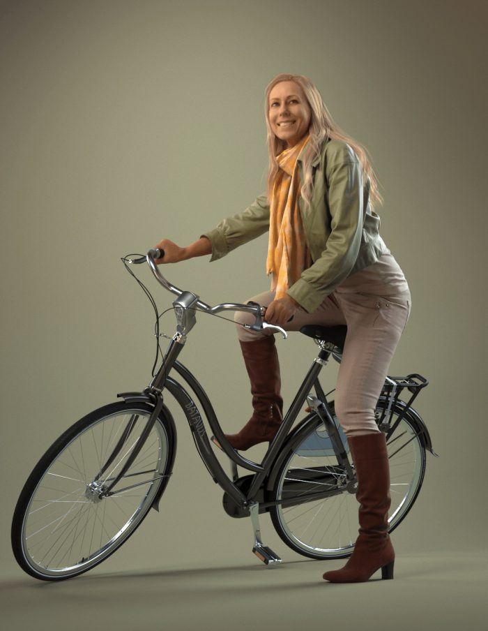3D model Linda riding a bike