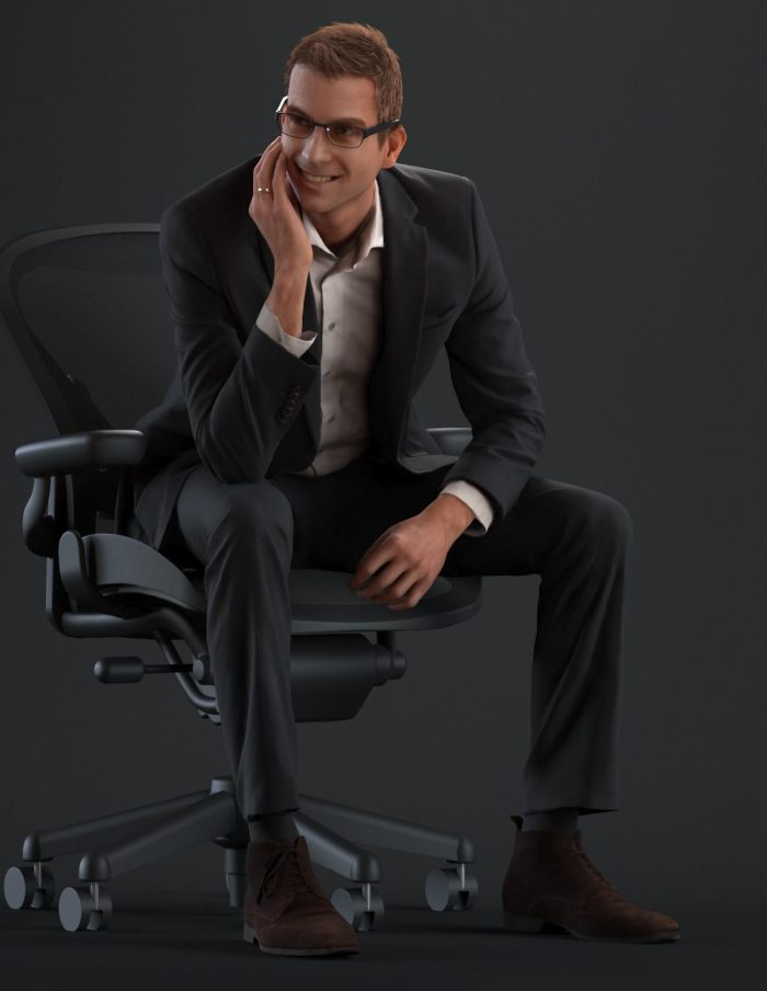 3D model Jeffrey wearing an office outfit and sitting