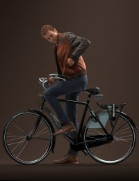 Premium 3D model Jeffrey riding a bike