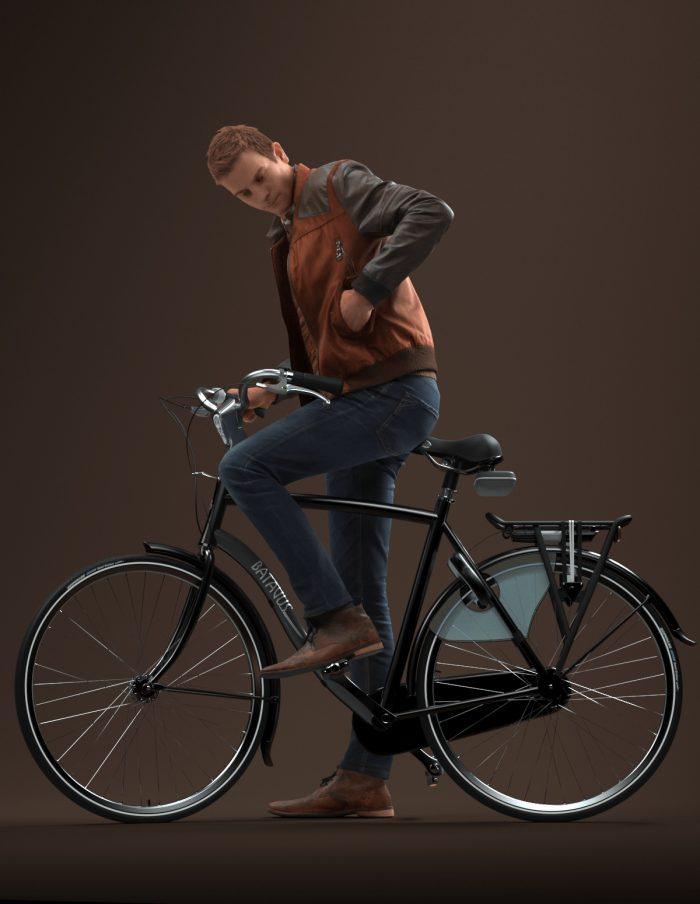 Premium 3D model Jeffrey riding a bike