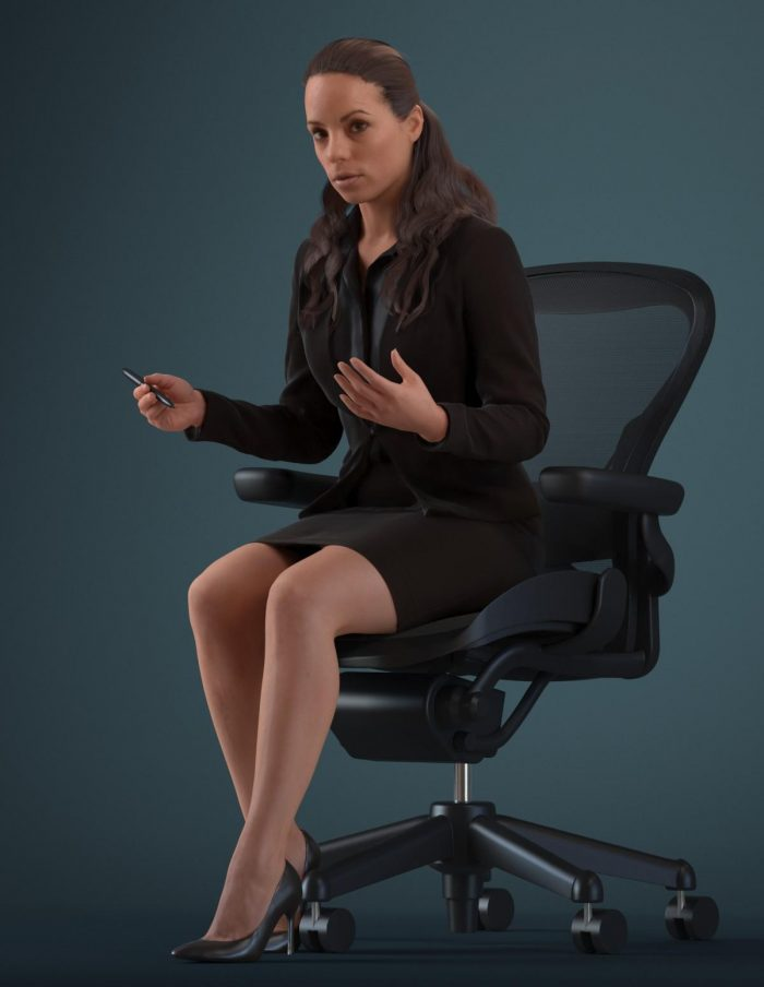 3D human Karen talking while sitting on an office chair