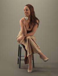 Premum 3D human Karen sitting while drinking a cup of tea