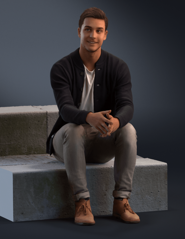 3D human Daniel sitting on a stair