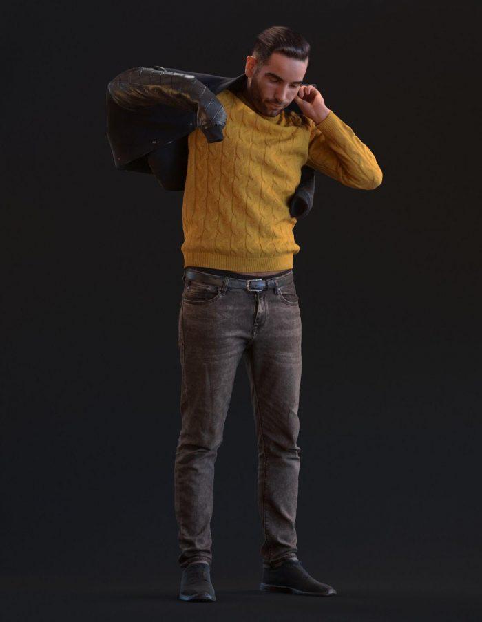 3D model Skander getting dressed