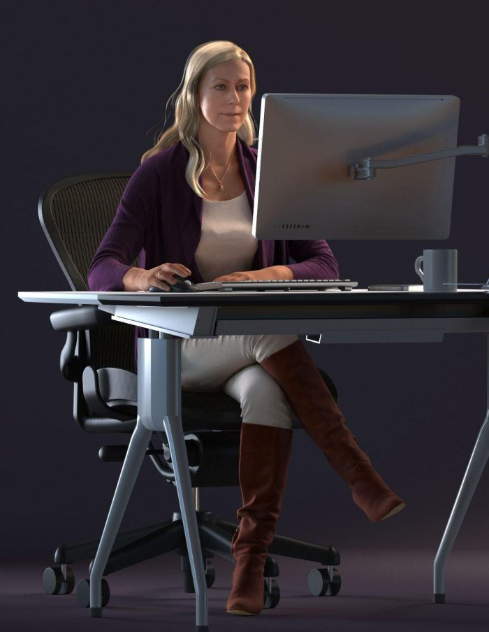 3D human Linda on the PC wearing a casual outfit