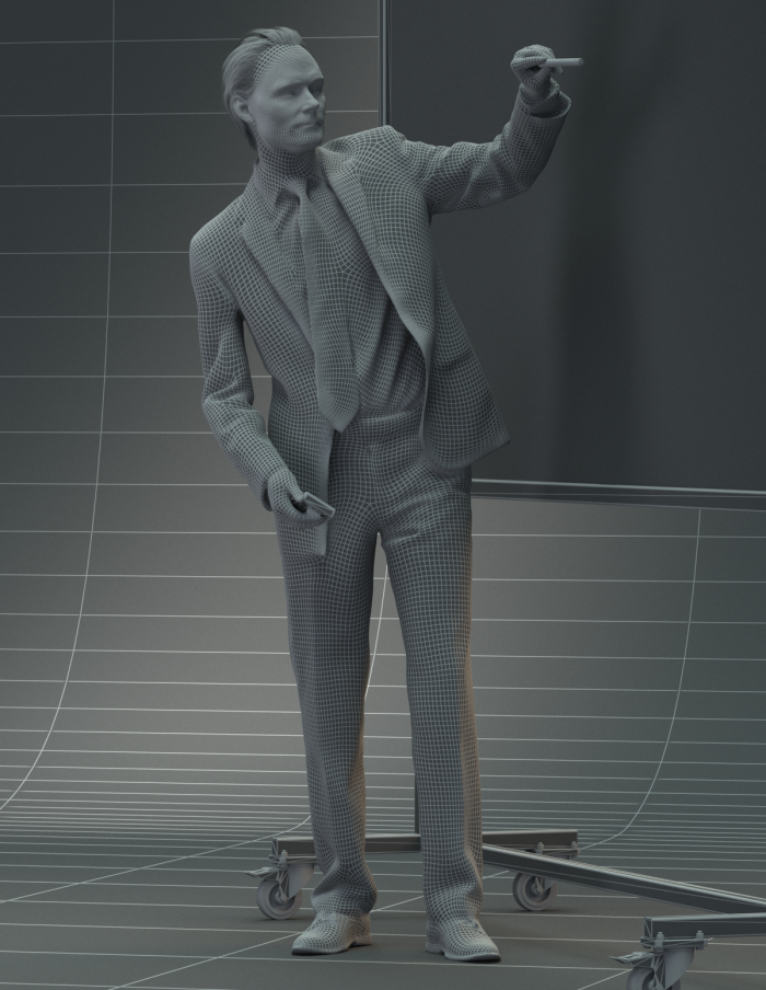 3D business man in front of a whiteboard giving a presentation. 3D model in wireframe for architectural visualization.
