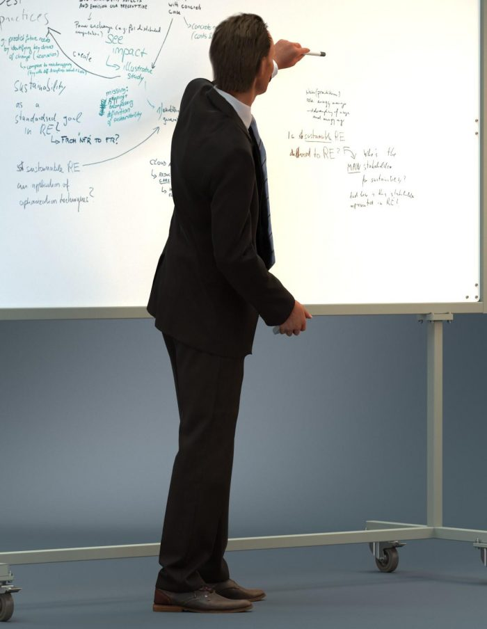 3D business man in front of a whiteboard giving a presentation. 3D model for architectural visualization.