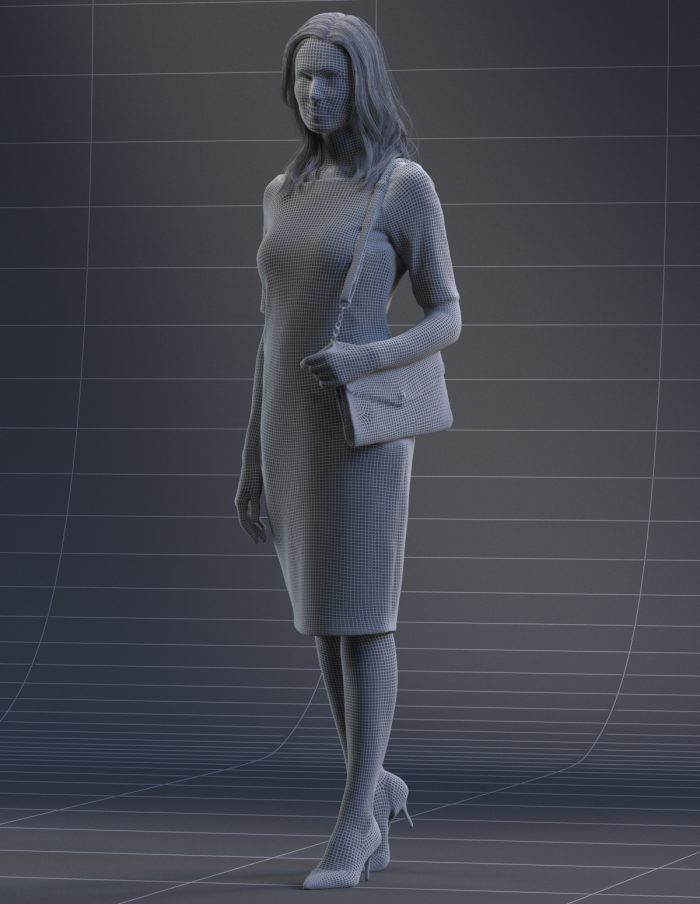 High Quality Model of a 3D woman walking in a summer dress showing in a wireframe render