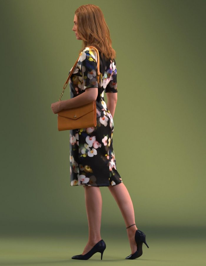 High Quality Model of a 3D woman walking in a summer dress