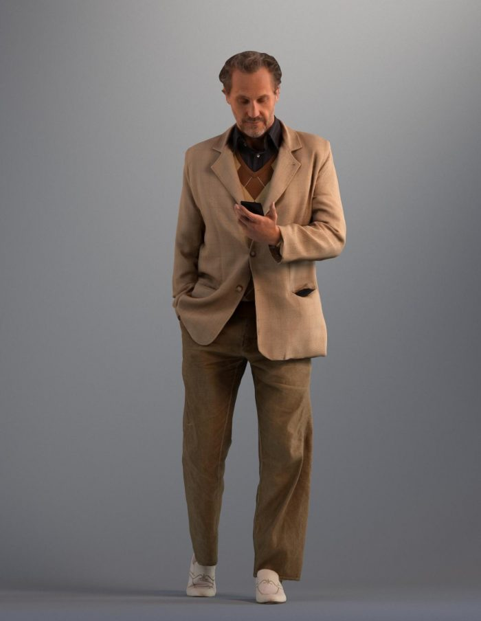 3D man wearing a brown suit looking at his phone