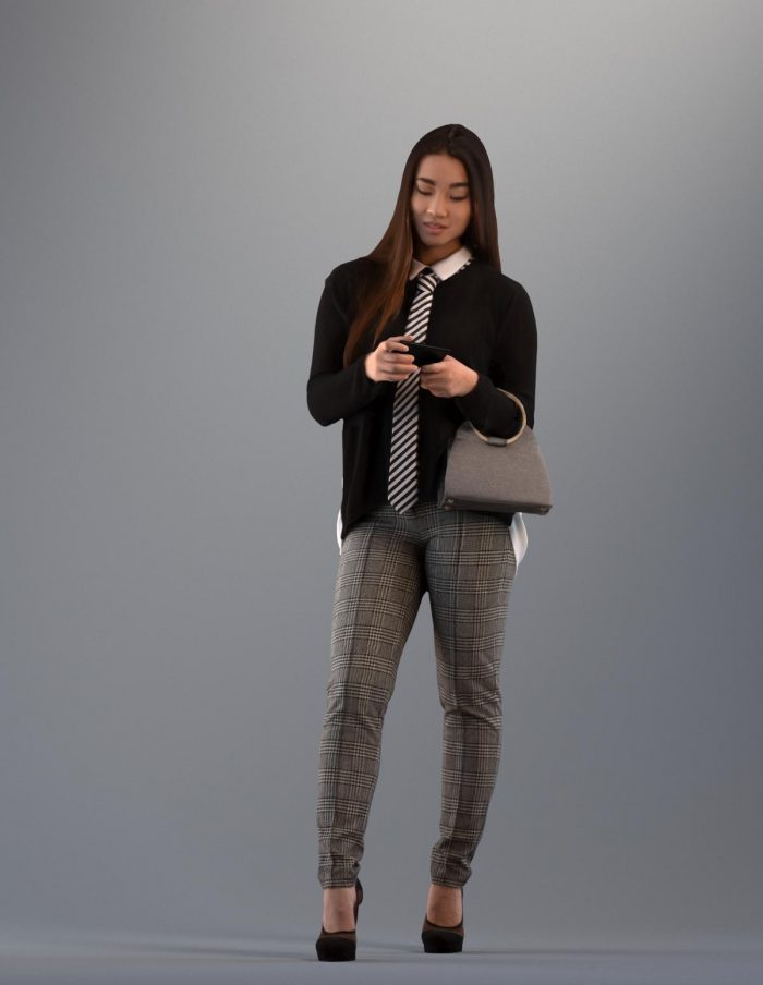 3D asian woman in casual clothes looking at her phone