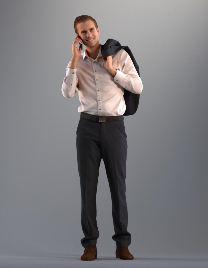 European 3D business man model making a call