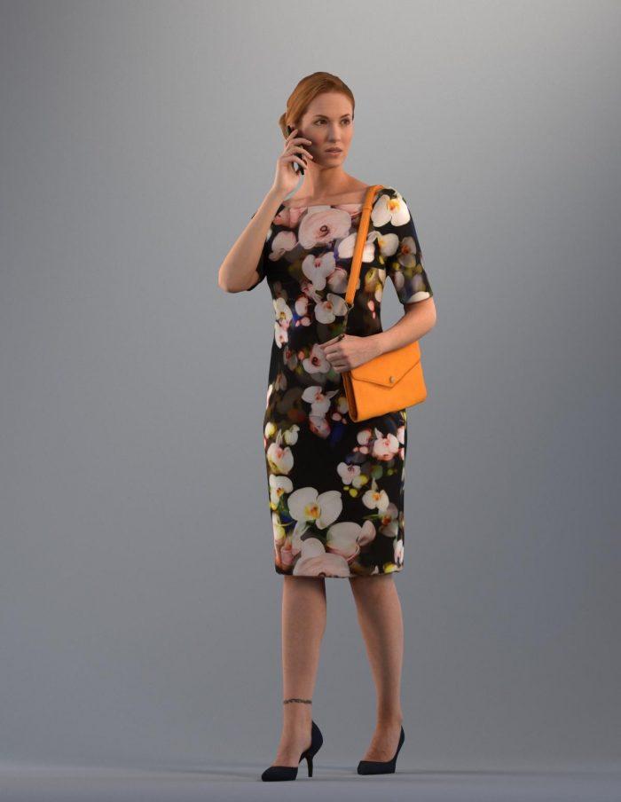 3D woman wearing a stylish dress