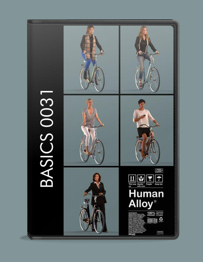 Five 3D female models riding bikes
